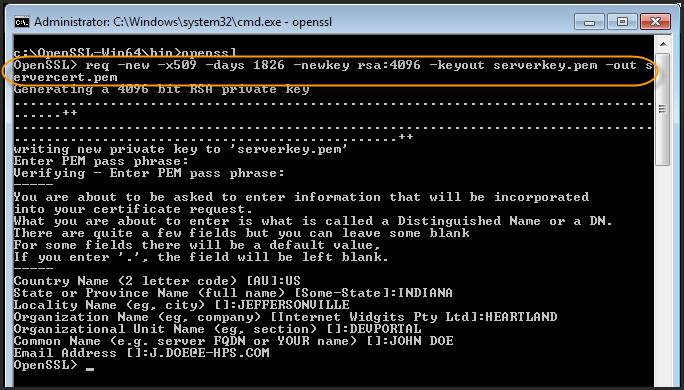 Enter OpenSSL command